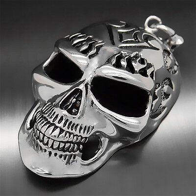 Mens Boys Fashion Huge Devil Skull Pewter Pendant with Free Long Necklace P269