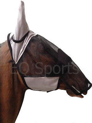 FAST P&P Full Face FLY Mask/Hood/veil with nose  SZ Pony-Cob-Full  Grey/Black