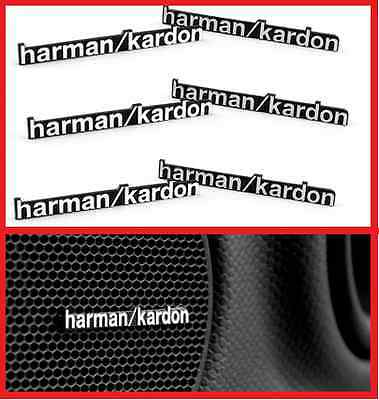 6 x ALUMINIUM HARMAN KARDON Speaker Logo Emblem Badge Sticker BMW MINI BENZ AUDI