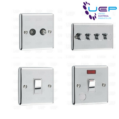 Polished Chrome Sockets & Switches White Trim (Windsor)