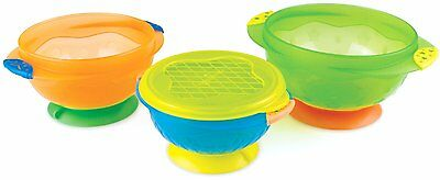 3) Stay Put Suction Bowl Feeding Dish Baby Infant Toddler Food Safety Snap Lid