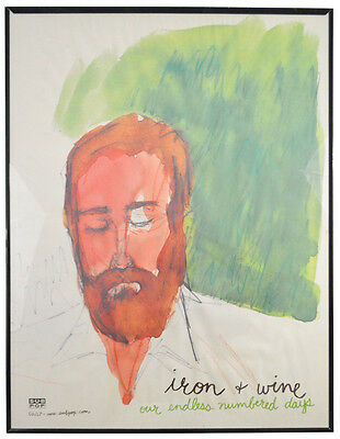 Iron and Wine Rare Framed Promo Poster 18 x 24 Our Endless Numbered Days Sub Pop