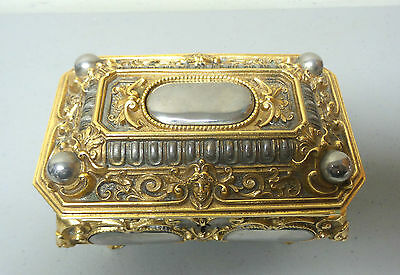 Gorgeous Antique German Erhard & Sohne Gilt Bronze, Nickle Silver Jewelry Box