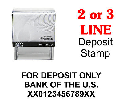 For Deposit Only Bank Self-Inking Rubber Stamp 2000 Plus Printer 30 Consolidated