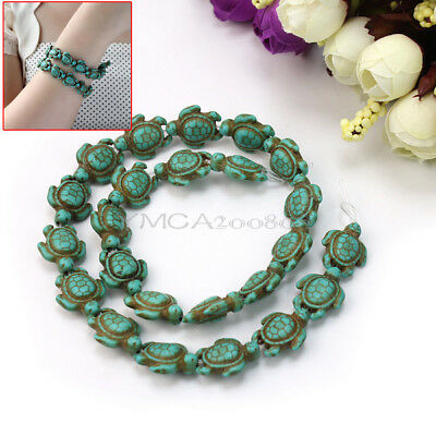 Women One Strand Howlite Turquoise Carved Turtle Shaped Spacer Beads DIY Decor
