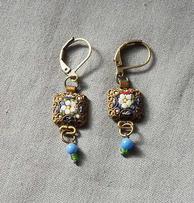 Vintage Victorian Style Etruscan Floral Drop Dangle Micro Mosaic  Earrings