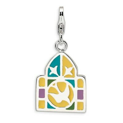 3-D Stained Glass Window Charm in 925 Sterling Silver 30x14mm 3.83gr