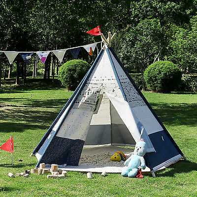 BNIB Large Cotton Canvas Kids Boys Girls Plane Pentagon Teepee Outdoor Tent