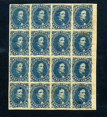 Confederate States Scott #4 Large Block of 16 Stamps *Showpiece* (Stock #CSA4-1)