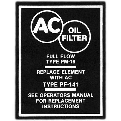 Full Size Chevy Oil Filter Decal, Canister PF141, 1958-1964