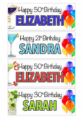 2 x PERSONALISED BIRTHDAY COCKTAIL BANNERS -ANY NAME 1st 18th 21st 30th 40th
