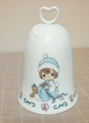 Vintage Precious Moments Meowie Christmas Porcelain Bell Cat 1995 Heart Handle
