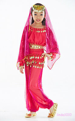 Kid's Belly Dance Costume Full Blouse Top&Pants&Scarf Fit Kid's height 95-150CM