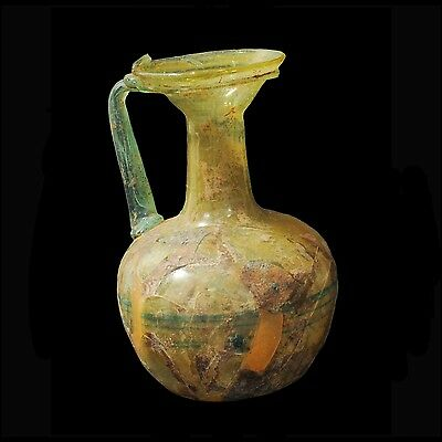 Aphrodite- Ancient Roman  Glass Jug With Green Trail