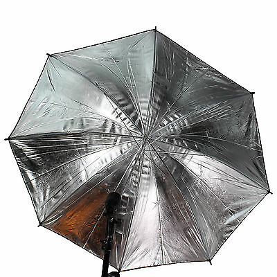 "33"" 83cm Photo Studio Black Silver Reflective Umbrella For Video Lighting Kit"