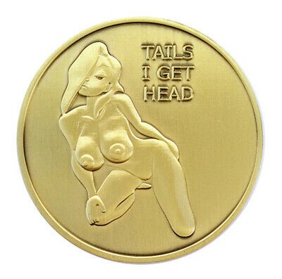 Nude PinUp Girl Heads and Tails Good Luck Challenge Coin Art