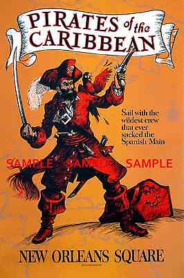 Vintage Disney 1967 ( Pirates Of The Caribbean ) Collector's Poster Print -B2G1F