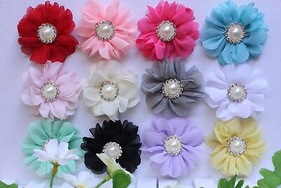 Wholesale DIY Chiffon Pearl Rhinestone Flower Embellishment Craft New 2.5""