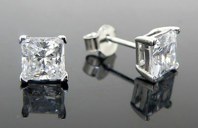 Mens stud earrings 925 sterling silver cubic zirconia 8mm square best shine cz