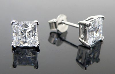 Mens stud earrings 925 sterling silver cubic zirconia 10mm square best shine cz