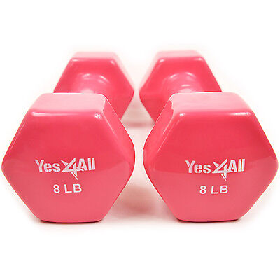 Vinyl Coated Dumbbells Hand Weight Excercise 8 lbs Pair (16 lbs) - ²8NWTC