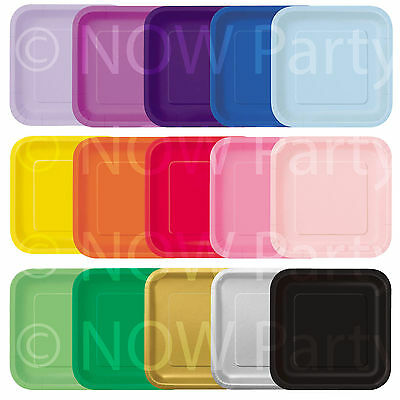 "14x 9"" SQUARE Paper PLATES 23cm Plain Solid Colours Birthday BBQ Party Tableware"
