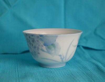 Small White Rice Bowl Japanese Chinese blue purple flower Asian Small Porcelain