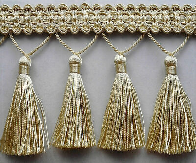 Luxury Tassel Fringe & Decorative Braid Furnishing Trimming - Gold & Cream