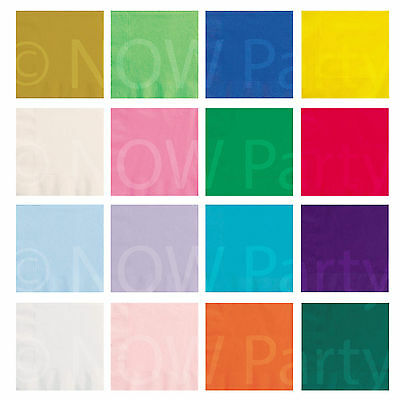 33cm Paper NAPKINS Plain Colours Birthday BBQ Party Catering Tableware 20 or 50s