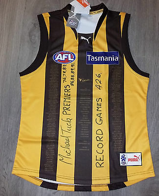 Michael Tuck Premiers Career Hand Signed Hawthorn Hawks 50 Year Jumper 5 Decades