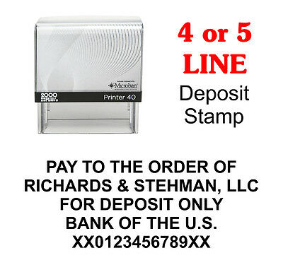 For Deposit Only Bank Self-Inking Custom Rubber Stamp 2000 Plus Printer 40 Cosco