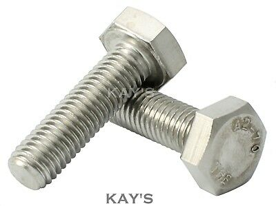 M6 (6mmØ) HEXAGON HEAD SET SCREWS FULLY THREADED METRIC BOLTS A2 STAINLESS STEEL
