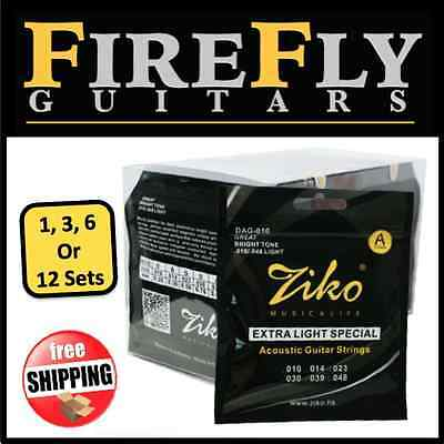 Buy 1 to 12 Sets Ziko DAG-010 Acoustic Guitar Strings 010-048 Light Copper Wound