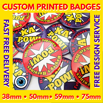Custom Badges Personalised 38mm 50mm 59mm 75mm Stag Hen Wedding Party Badge