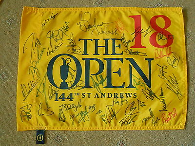 The Open Multi Signed 2015 St Andrews Pin Flag Over 40 Autographs.