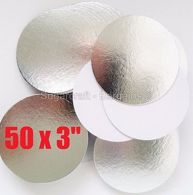 "50 x 3""  ROUND THIN CUT EDGE SILVER cake cupcake boards cards sugarcraft CULPITT"