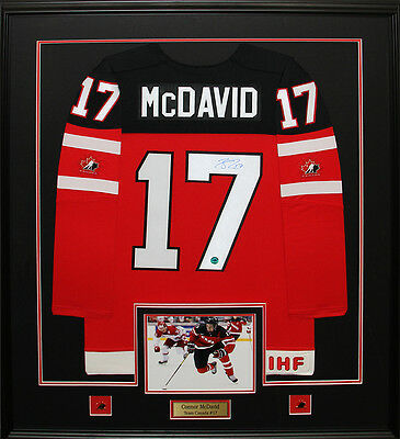 Connor McDavid Team Canada Juniors signed jersey frame