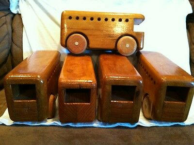 Folk Art-1 vintage handmade wooden toy car +5 busses For Boys and Girls 3+
