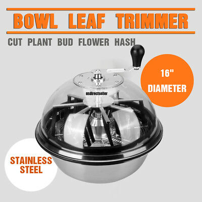 "16"" Hydroponics Twisted Trimmer Bowl Leaf Plant Bud Spin Stainless w/Wire blades"