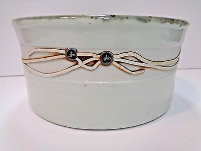 Vintage Ceramic Hand Made Stoneware Casserole with Metal Banded Trim-Signed