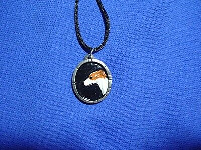 Whippet Greyhound Pewter Cameo necklace Hand painted OOAK b Cindy A. Conter