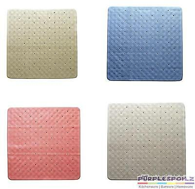 NEW RUBBER SHOWER MAT Bathroom Bath Non Slip Square 53cm x 53cm 4 COLOURS