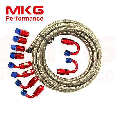 AN6 -6 Stainless Steel Braided Oil Fuel Line + Fitting Hose End Adaptor Kit SL