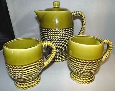 Vintage Coffee Teapot & 2 Cups JAPAN Green Braided Rope Wrapped Embossed