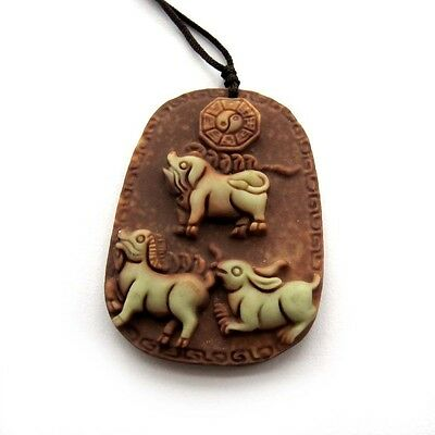 Two Layer Natural Stone Happy Lucky Chinese Zodia Pig Sheep Rabbit Amulet Pendan