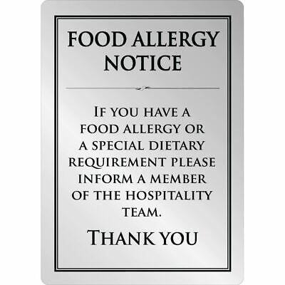 Food Allergy Sign A4 Size Made of Brushed Steel Self Adhesive and Easy to Clean