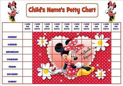 minnie mouse personalised pottytoilet chart with stickers and certificate