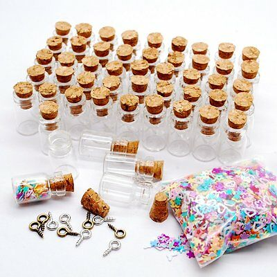 50/100/200 extra Small Miniature Glass Bottle with Cork Top No4- 18x10mm 0.5ml