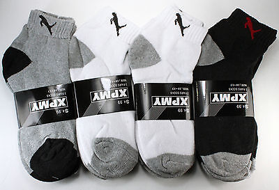 New Lot 12 Pairs Mens Ankle Quarter Crew Sports Athletic Socks Cotton Tiger 9-13
