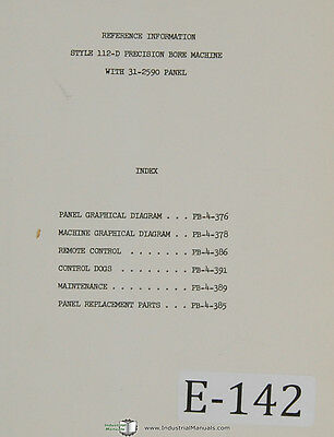 Excello 112-D, Boring Machine with 31-2590 Panel, Reference Info Manual 1957